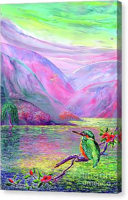 Surreal Art Canvas Print - Kingfisher, Shimmering Streams by Jane Small