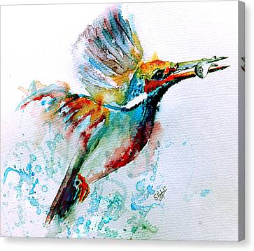 Wet Leaves Canvas Print - Kingfisher by Steven Ponsford