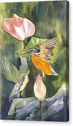 Kingfisher With Lotus Canvas Print by Alfred Ng