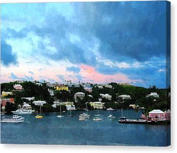 Canvas Print featuring the photograph King's Wharf Bermuda Harbor Sunrise by Susan Savad