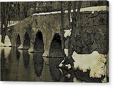 Canvas Print - Kingston Bridge Woodprint by Steven Richman