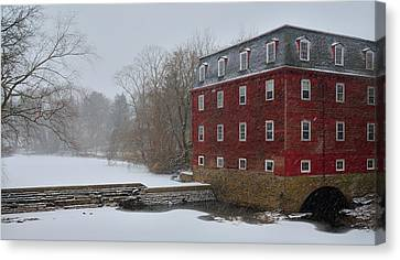 Canvas Print featuring the photograph Kingston Mill In Winter Storm by Steven Richman