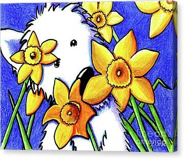 Kiniart Westie Daffodils Canvas Print by Kim Niles