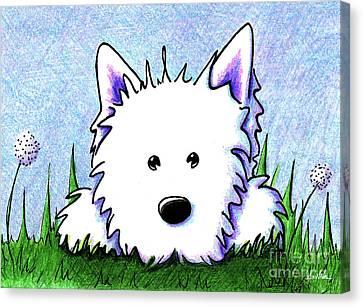 Kiniart Westie Springtime Canvas Print by Kim Niles