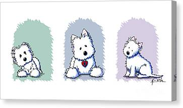 Kiniart Westie Trio Canvas Print