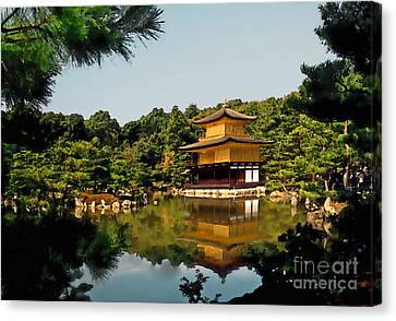 Kinkakuji-gold Pavilion Canvas Print by Linda  Parker