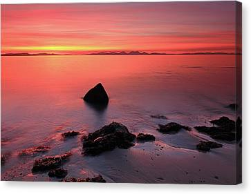 Canvas Print featuring the photograph Kintyre Rocky Sunset 2 by Grant Glendinning