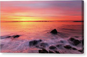 Canvas Print featuring the photograph Kintyre Rocky Sunset 3 by Grant Glendinning