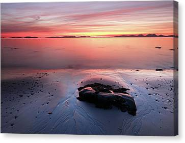Canvas Print featuring the photograph Kintyre Rocky Sunset 5 by Grant Glendinning