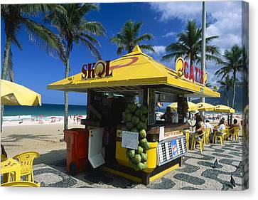 Kiosk On Ipanema Beach Canvas Print by George Oze