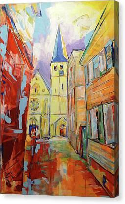 Kirche Canvas Print - Kirche Und Altstadt Mettmann by Koro Arandia