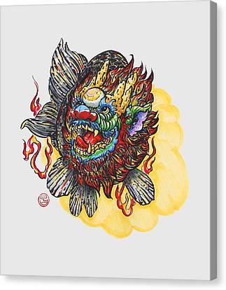 Kirin Head Ranchu Canvas Print by Shih Chang Yang