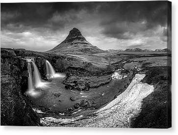 Kirkjufellsfoss Dawn Monochrome  Canvas Print