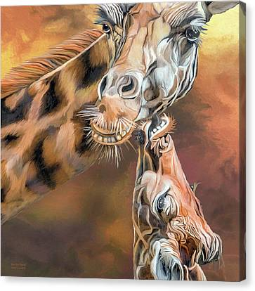 Canvas Print featuring the mixed media Kiss For Mama by Carol Cavalaris