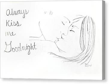 Canvas Print featuring the drawing Kiss Me Goodnight by Rebecca Wood