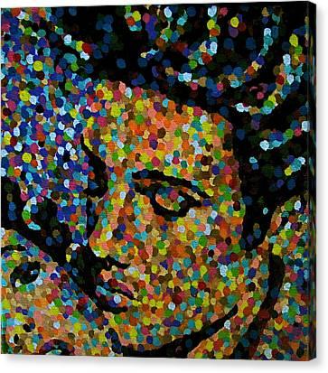 Kissing Elvis Canvas Print by Denise Landis