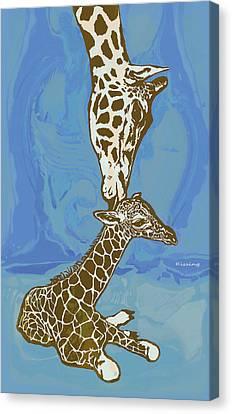 Giraffe Abstract Canvas Print - Kissing - Giraffe Stylised Pop Art Poster by Kim Wang