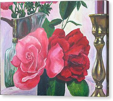 Kissing Roses Canvas Print by Judy Loper