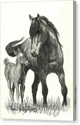 Wild Horses Canvas Print - Kissy And Vegas by Linda L Martin