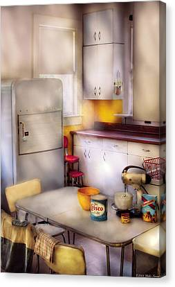 Kitchen - A 1960's Kitchen  Canvas Print by Mike Savad