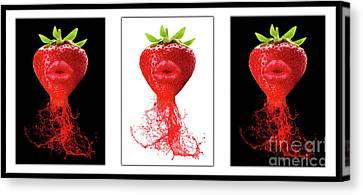 Strawberry Canvas Print - Kitchen Art by Prar Kulasekara