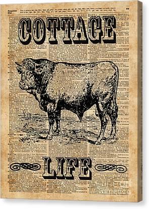 Collage Tapestries - Textiles Canvas Print - Kitchen Decor Cottage Life Cow Vintage Artwork by Jacob Kuch