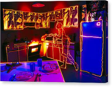 Kitchen Fire Canvas Print by Garry Gay