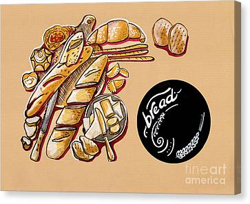 Canvas Print featuring the drawing Kitchen Illustration Of Menu Of Bread Products  by Ariadna De Raadt
