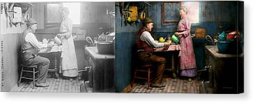 Kitchen - Morning Coffee 1915 - Side By Side Canvas Print by Mike Savad