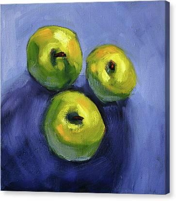 Canvas Print featuring the painting Kitchen Pears Still Life by Nancy Merkle