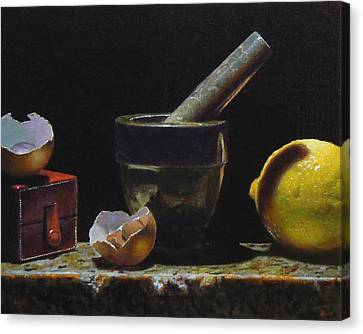 Kitchen Still Life With Red Box Canvas Print by Jeffrey Hayes