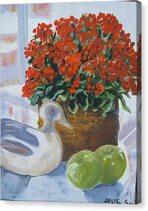 Canvas Print featuring the painting Kitchen Table by Julie Todd-Cundiff