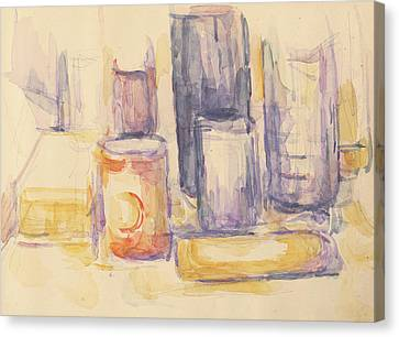 Kitchen Table  Pots And Bottles Canvas Print by Paul Cezanne