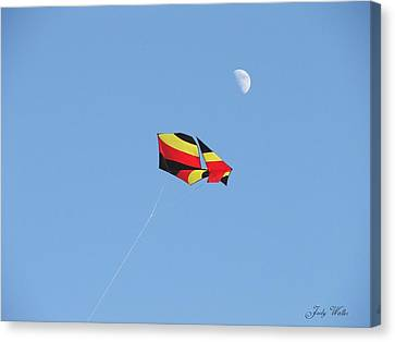 Kite And Moon Canvas Print by Judy  Waller