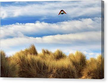Canvas Print featuring the photograph Kite Over The Hill by James Eddy