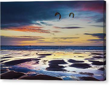 Kite Surfing, Widemouth Bay, Cornwall Canvas Print by Maggie McCall