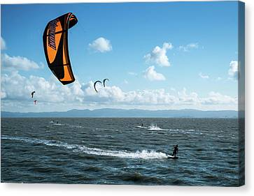 Kiteboarding East Bay San Francisco Area California Canvas Print by Mary Lee Dereske
