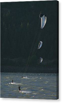 Kiteboarding On The Columbia River Canvas Print by Skip Brown