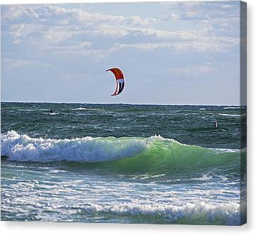 Kiteboards On Pompano Beach Florida Canvas Print by Toby McGuire