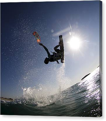 Kitesurfing In The Mediterranean Sea  Canvas Print by Hagai Nativ