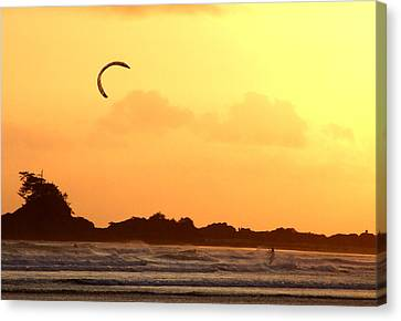 Kitesurfing The Sunset Canvas Print by Mark Alan Perry