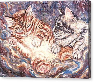 Kittens Sleeping Canvas Print by Linda Mears