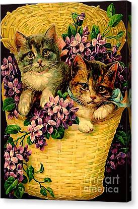 Kittens With Violets Victorian Print Canvas Print