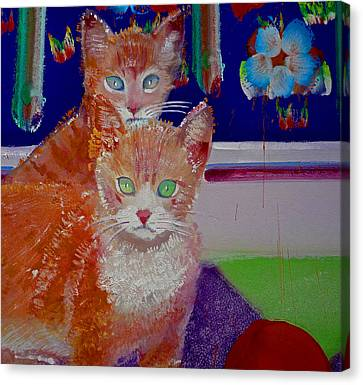 Kittens With Wild Wallpaper Canvas Print by Charles Stuart