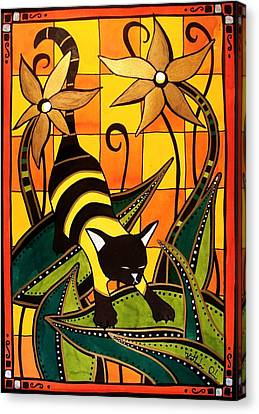 Canvas Print featuring the painting Kitty Bee - Cat Art By Dora Hathazi Mendes by Dora Hathazi Mendes