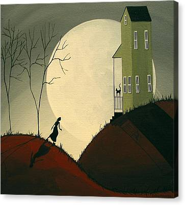 Kitty Came Home - Folk Art Canvas Print by Debbie Criswell