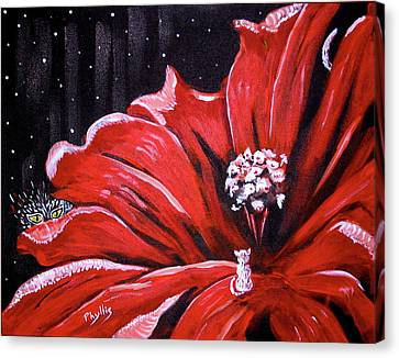 Canvas Print featuring the painting Kitty Flower by Phyllis Kaltenbach