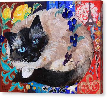 Kitty Goes To Paris Canvas Print by Robin Maria Pedrero