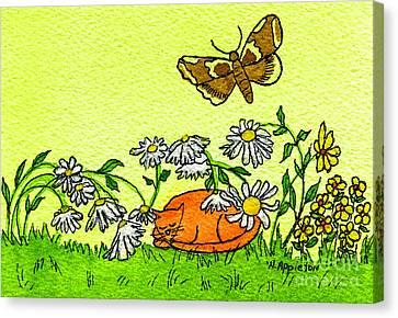 Appleton Art Canvas Print - Kitty In The Garden by Norma Appleton