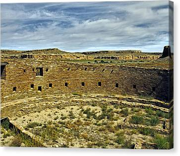 Canvas Print featuring the photograph Kiva View Chaco Canyon by Kurt Van Wagner